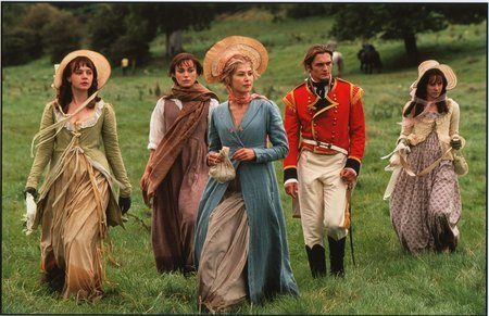 Keira Knightley, Jena Malone, Rosamund Pike, Carey Mulligan, and Rupert Friend in Pride & Prejudice (2005)