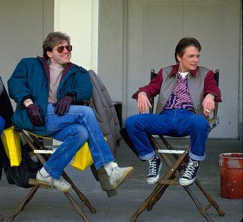Director Robert Zemeckis and Michael J. Fox on the set