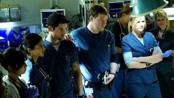 "Angela Relucio, Melanie Chandra, Benjamin Hollingsworth, Harry Ford, and Bonnie Somerville. ""Code Black"" on CBS."