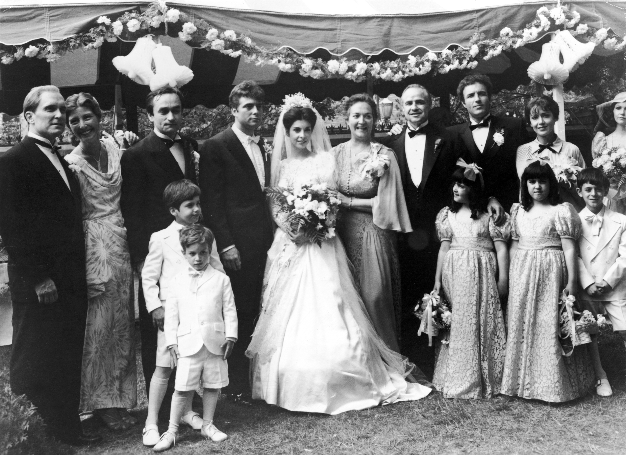 Marlon Brando, Robert Duvall, James Caan, John Cazale, Talia Shire, Julie Gregg, Morgana King, Tere Livrano, and Gianni Russo in The Godfather (1972)