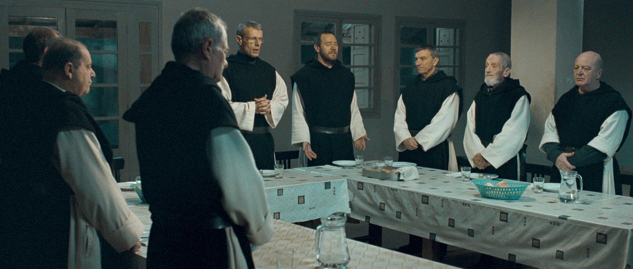 Jacques Herlin, Jean-Marie Frin, Philippe Laudenbach, Olivier Perrier, Loïc Pichon, Olivier Rabourdin, and Lambert Wilson in Des hommes et des dieux (2010)
