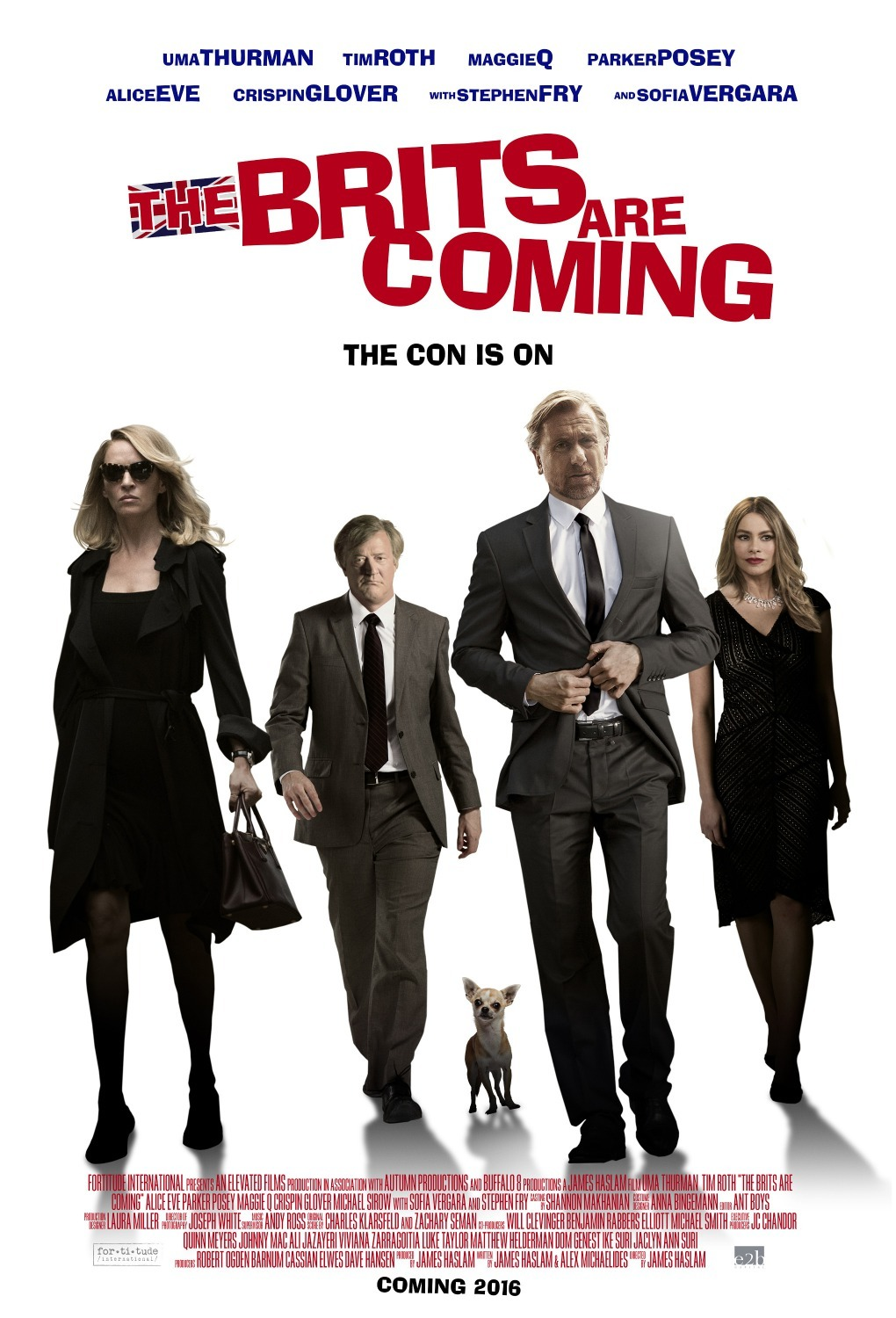 Uma Thurman, Stephen Fry, Tim Roth, and Sofía Vergara in The Con Is On (2018)