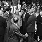 """Nikita Khrushchev visits with Frank Sinatra, Maurice Chevalier, Louis Jourdan and Shirley MacLaine on the set of the film """"Can-Can"""" at 20th Century Fox' Hollywood studio 09-19-1959"""
