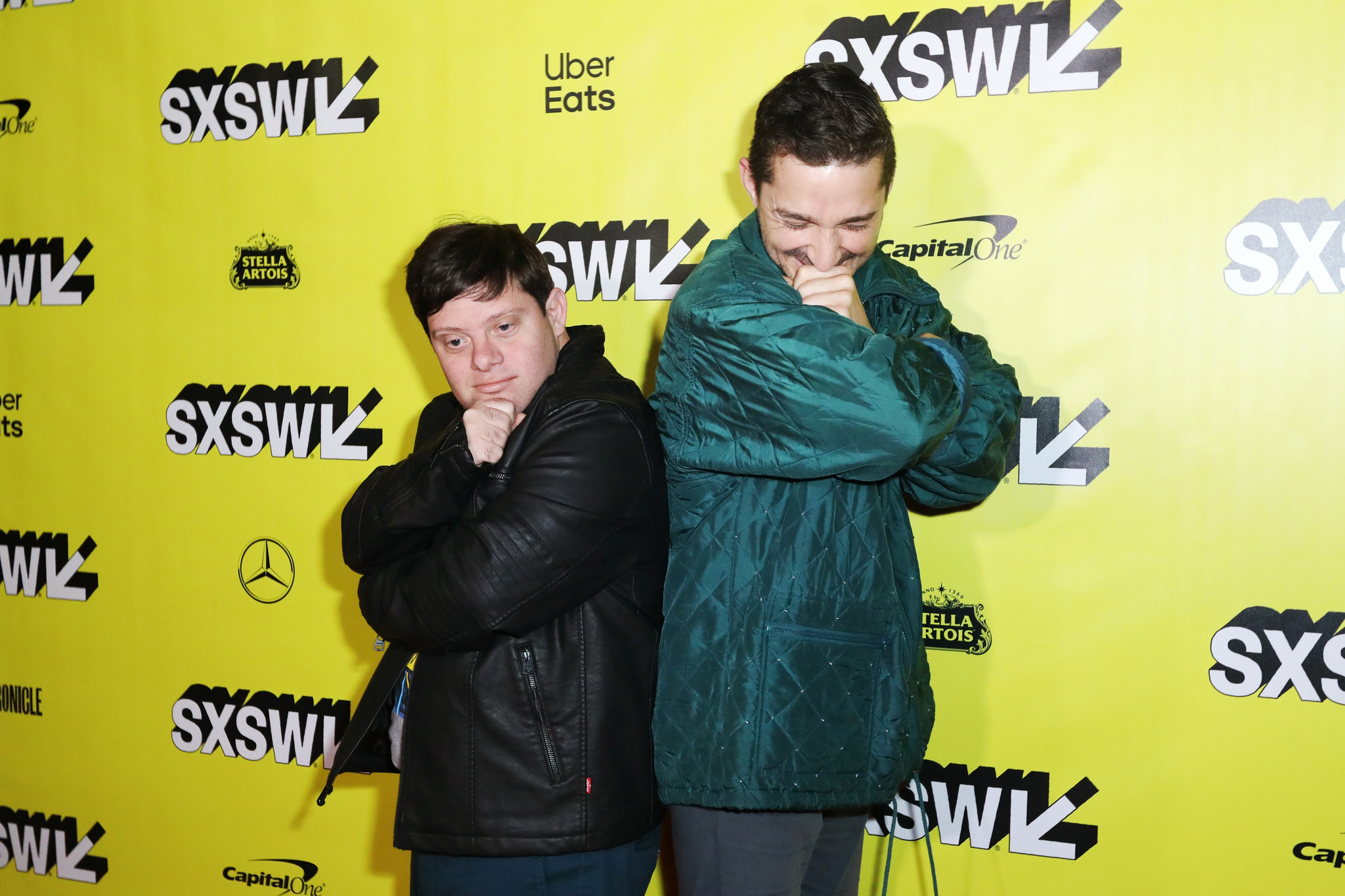 Shia LaBeouf and Zack Gottsagen at an event for The Peanut Butter Falcon (2019)