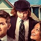 Adam Scott, Evangeline Lilly, and Owen Atlas in Little Evil (2017)