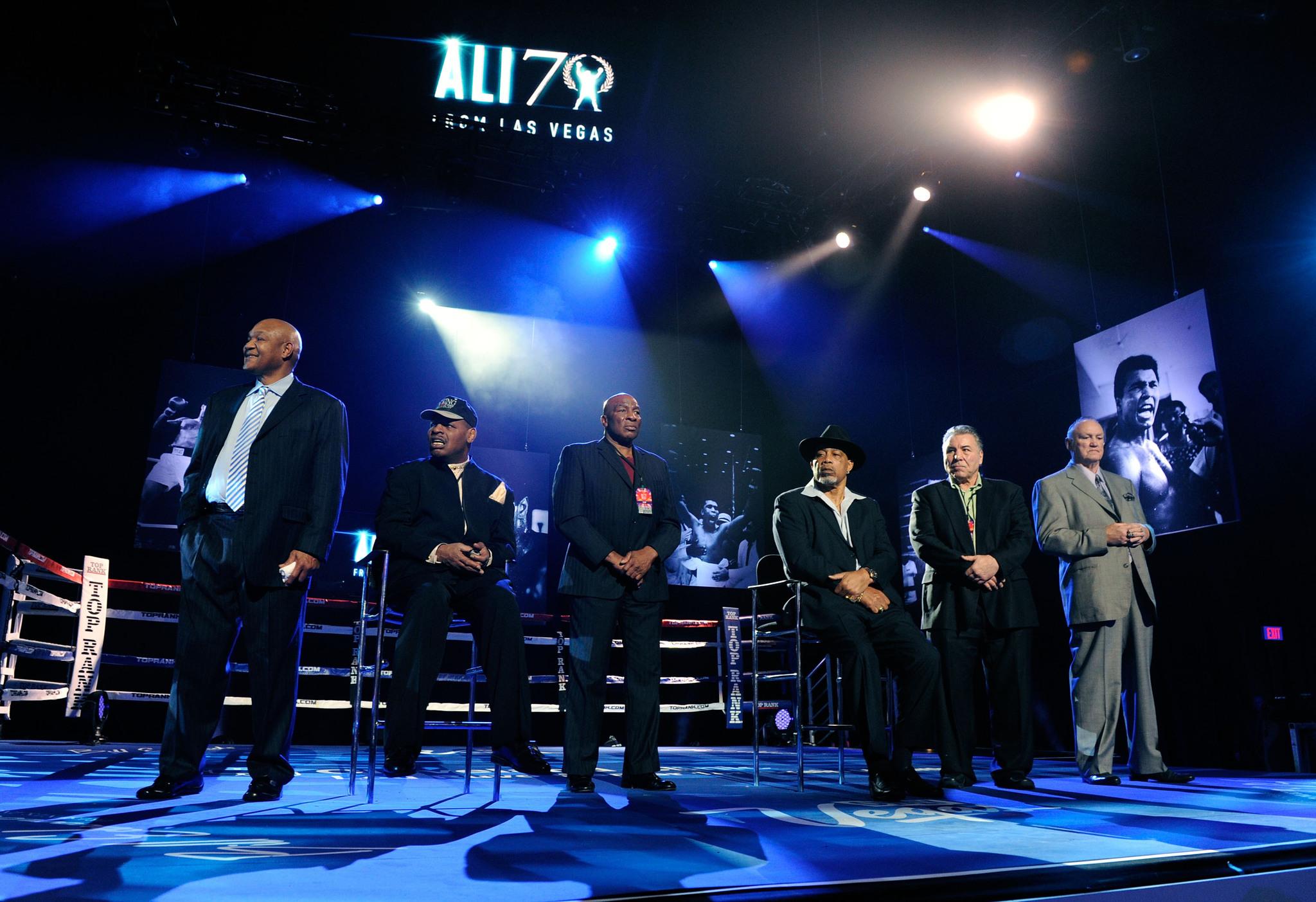 Muhammad Ali, George Chuvalo, George Foreman, Ken Norton, Earnie Shavers, Chuck Wepner, and Leon Spinks