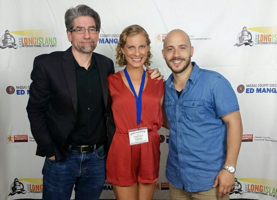"""Producer Craig Nobbs with actors Tawny Sorensen and Nabil Vinas at the Long Island International Film Expo's screening of """"The Cat's Cradle."""""""