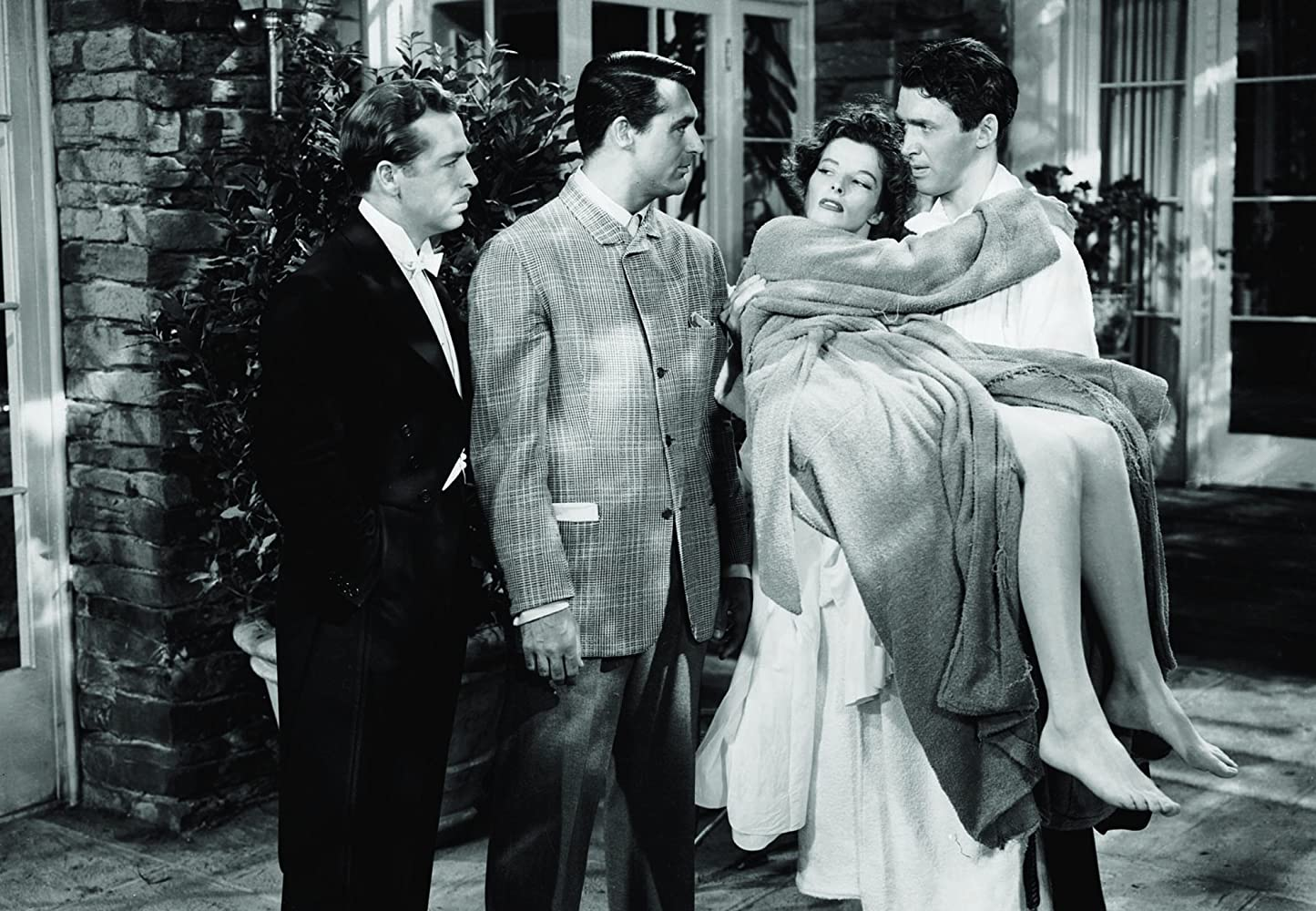 Cary Grant, Katharine Hepburn, James Stewart, and John Howard in The Philadelphia Story (1940)