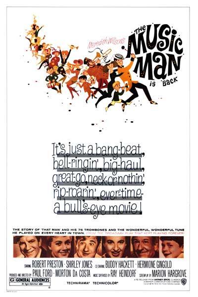 The Music man Robert Preston 1962 movie poster print