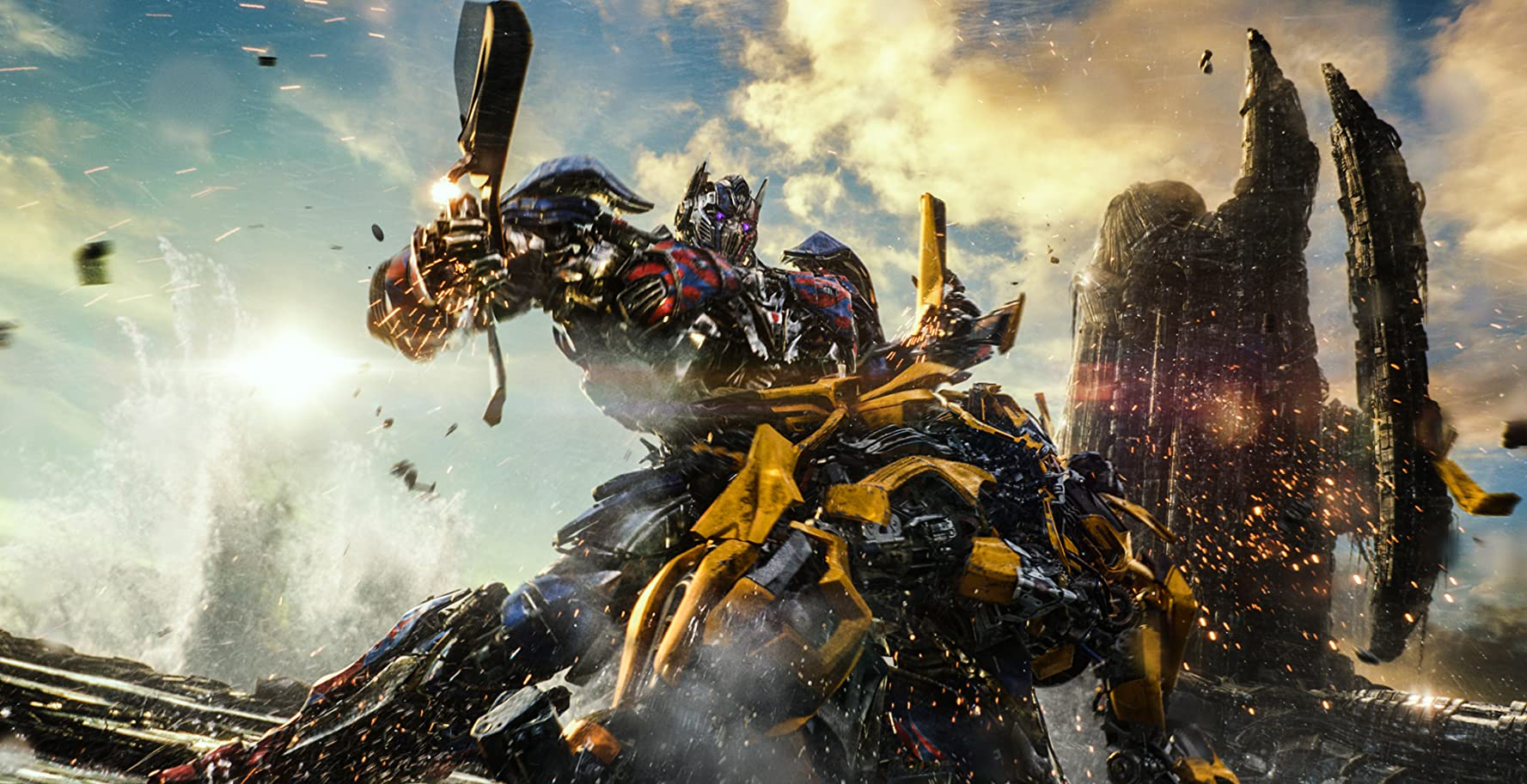 Erik Aadahl and Peter Cullen in Transformers: The Last Knight (2017)