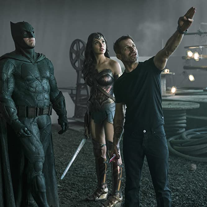 Ben Affleck, Zack Snyder, and Gal Gadot in Justice League (2017)