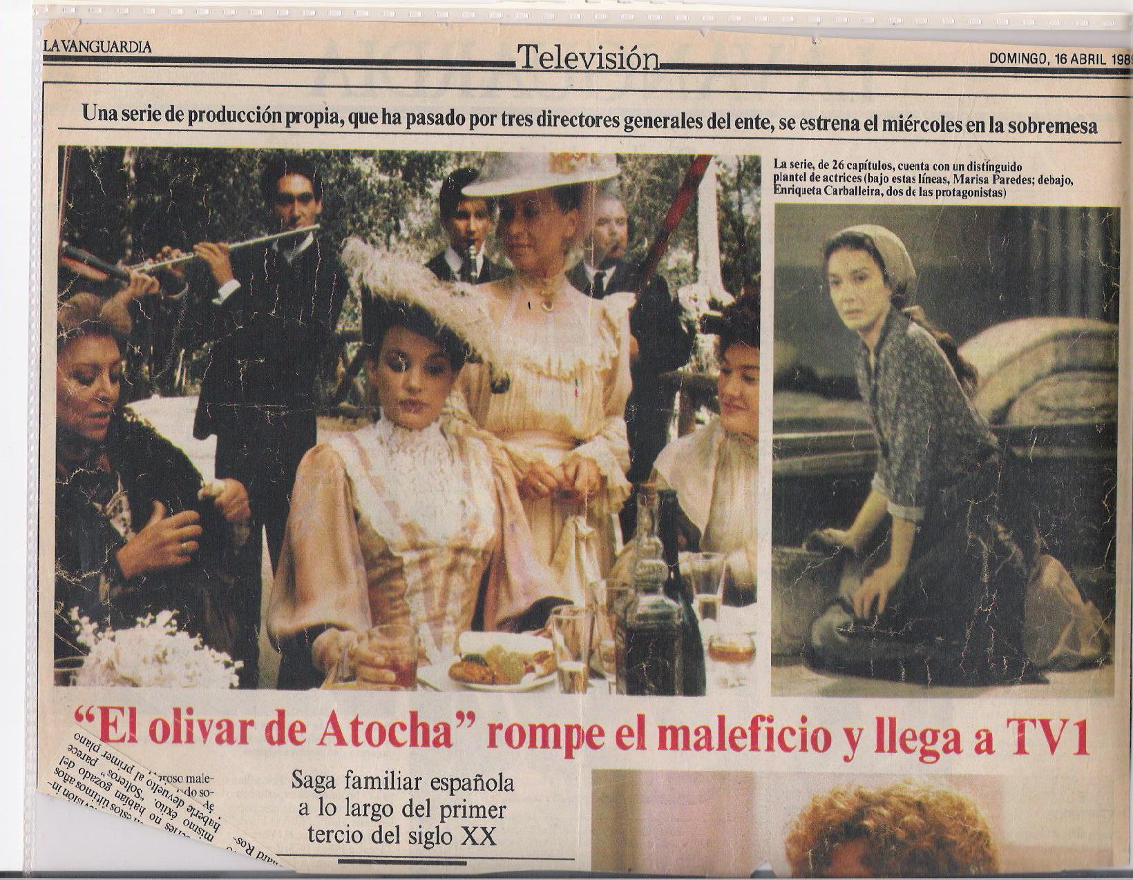 """Laura Bayonas, Amparo SOler Leal, Maria Jose Goyanes, Marisa Paredes./ """"EL OLIVAR DE ATOCHA"""", Carlos Serrano. 1988"""