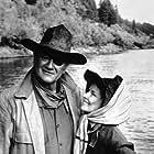 "722-1010 Katharine Hepburn and John Wayne in ""Roster Cogburn"" 1975 Universal MPTV"
