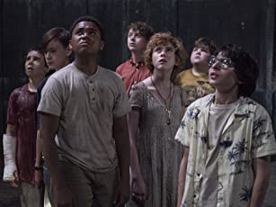 Wyatt Oleff, Jeremy Ray Taylor, Jaeden Lieberher, Finn Wolfhard, Sophia Lillis, Jack Dylan Grazer, and Chosen Jacobs in It (2017)