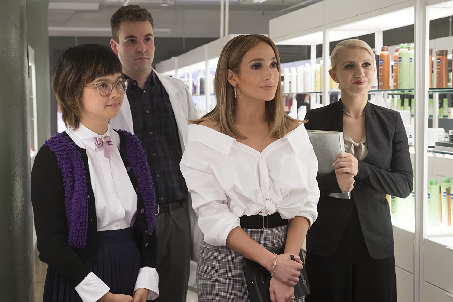 Jennifer Lopez, Alan Aisenberg, Charlyne Yi, and Annaleigh Ashford in Second Act (2018)