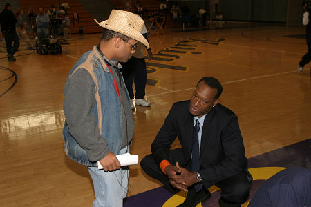 Don Abernathy consults with actor Tony Todd on the set of Tournament of Dreams.