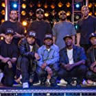 Ice Cube, Neil Brown Jr., Dr. Dre, Aldis Hodge, DJ Yella, M.C. Ren, Corey Hawkins, Jason Mitchell, and O'Shea Jackson Jr. in Straight Outta Compton (2015)