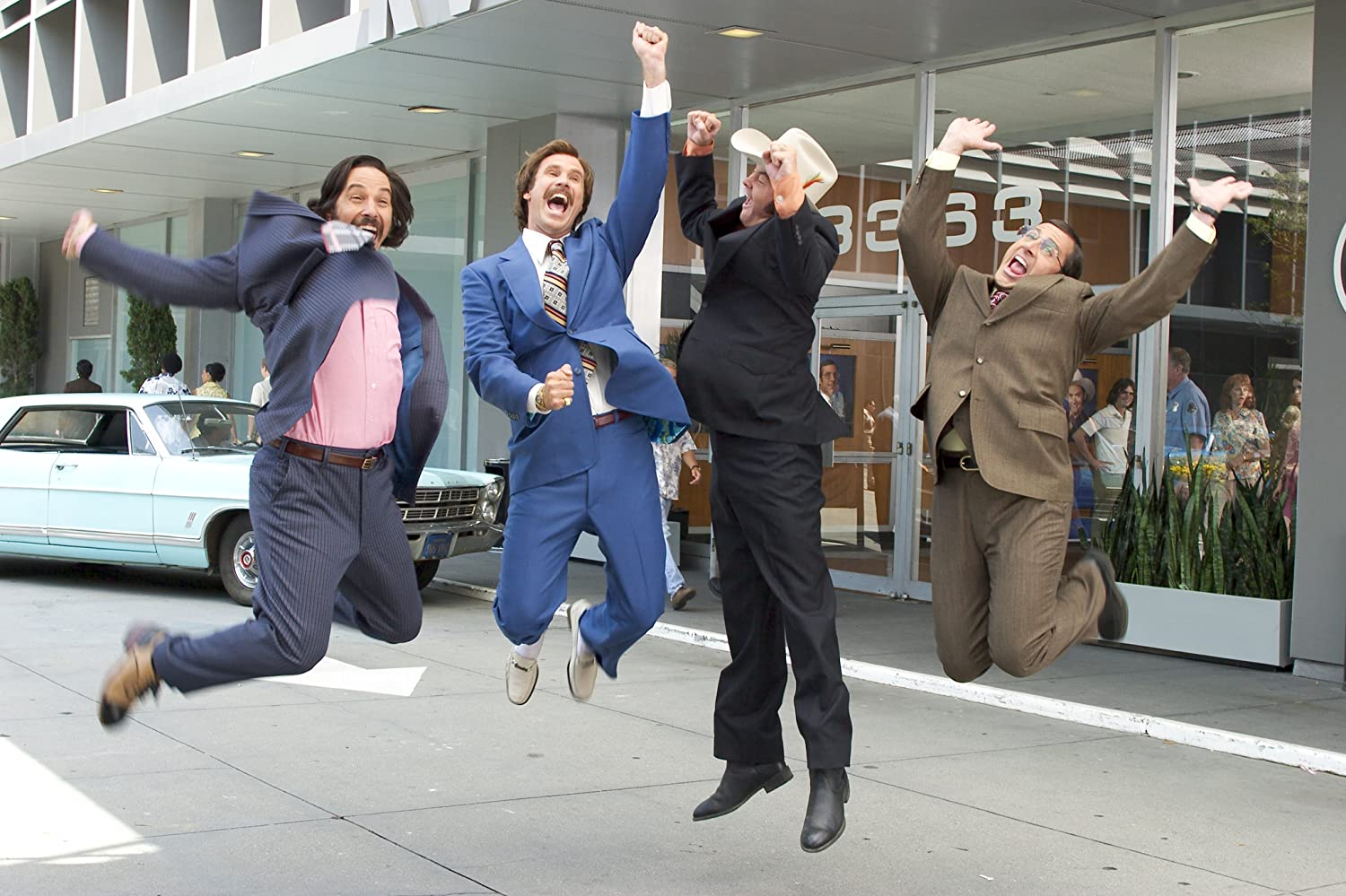 Will Ferrell, Steve Carell, David Koechner, and Paul Rudd in Anchorman: The Legend of Ron Burgundy (2004)