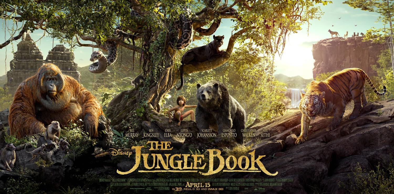 Bill Murray, Christopher Walken, Ben Kingsley, Idris Elba, Scarlett Johansson, and Neel Sethi in The Jungle Book (2016)