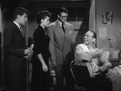 George Reeves, Phyllis Coates, Jack Larson, and Syd Saylor in Adventures of Superman (1952)