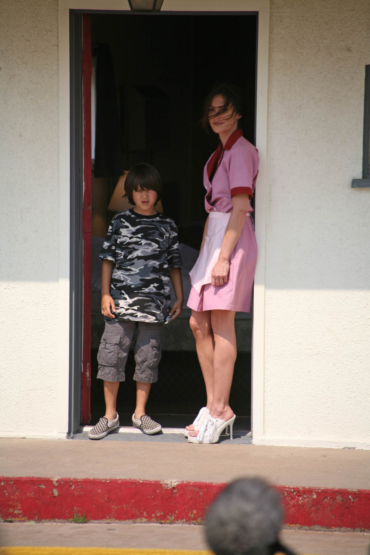 Gage Michael Petrone and Heather Walquist on the set of Yellow
