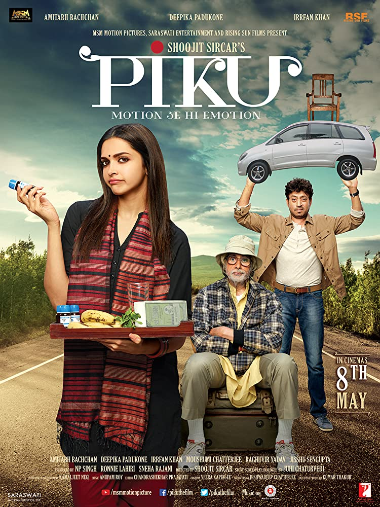 Amitabh Bachchan, Irrfan Khan, and Deepika Padukone in Piku (2015)
