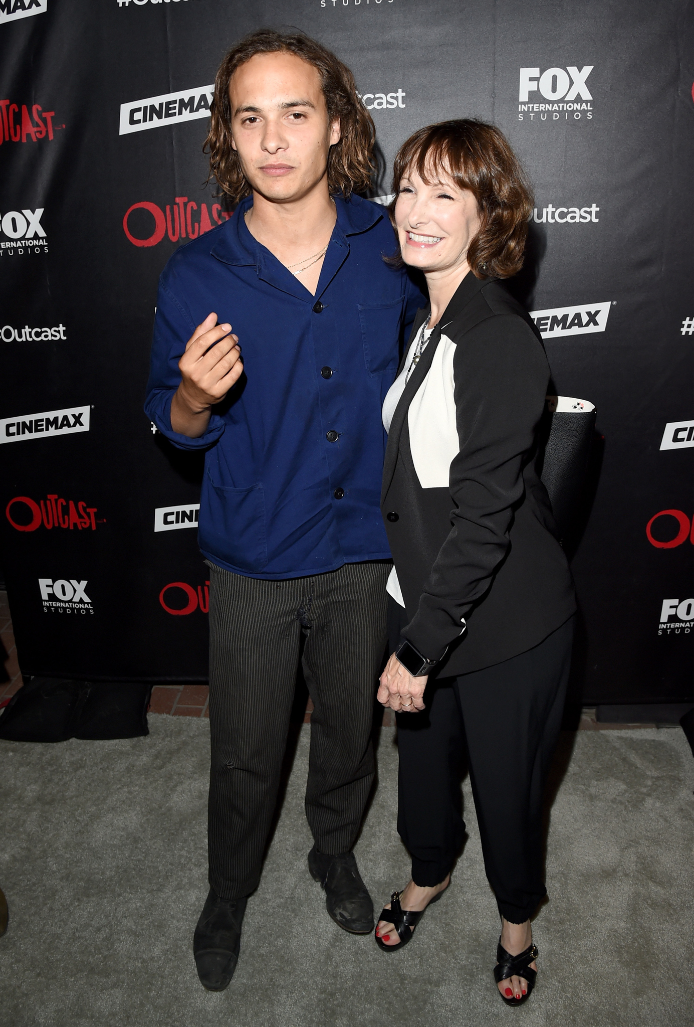 Gale Anne Hurd and Frank Dillane at an event for Outcast (2016)