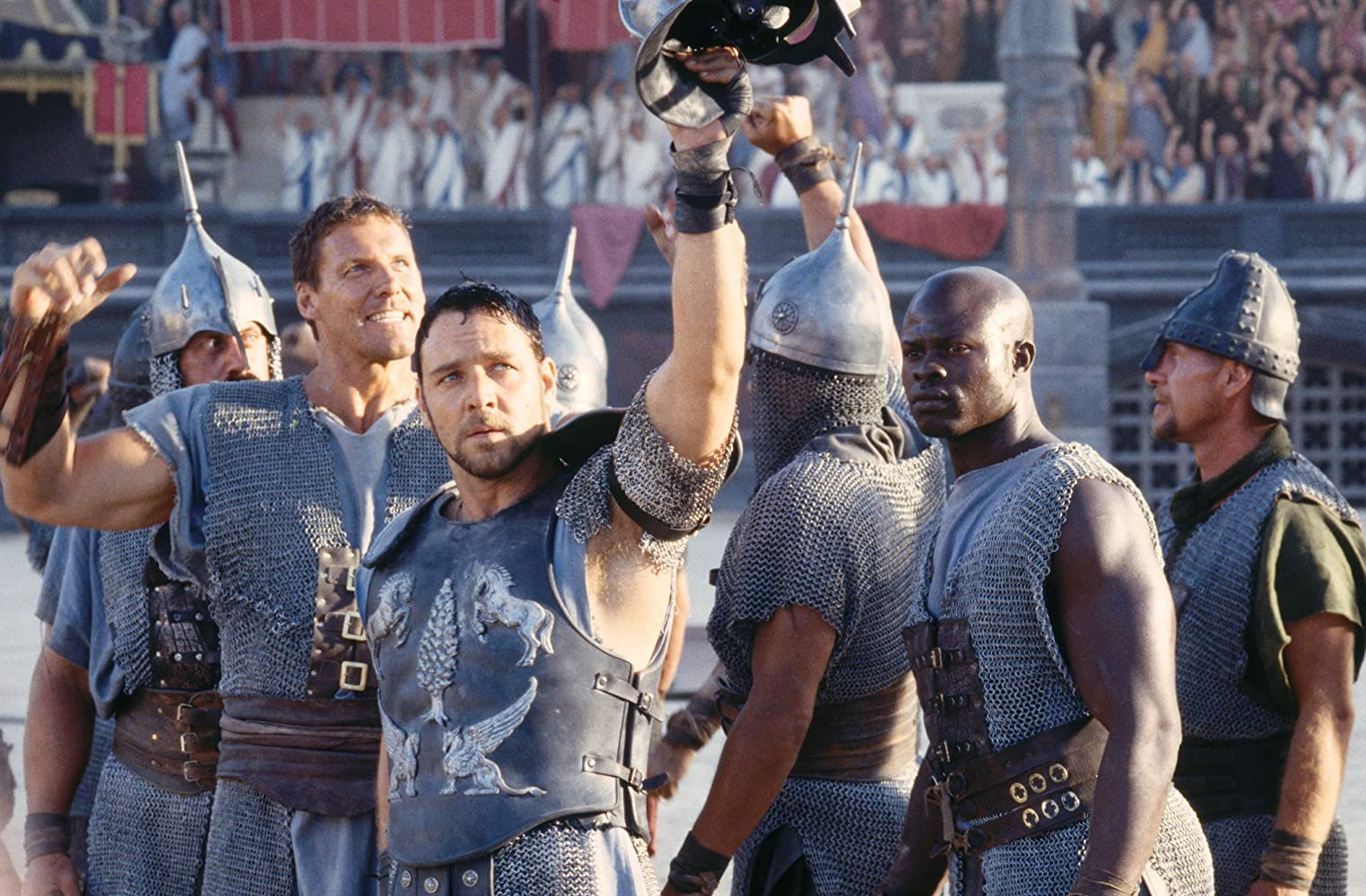 Russell Crowe, Djimon Hounsou, and Ralf Moeller in Gladiator (2000)
