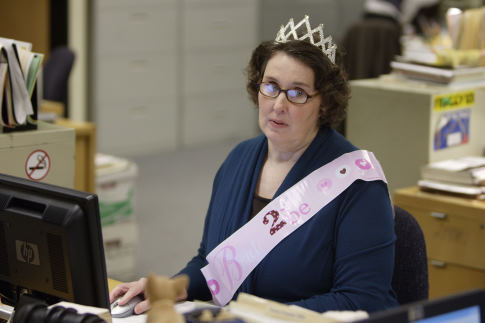 Phyllis wearing a princess' crown in the show, The Office.