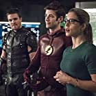 Stephen Amell, Grant Gustin, and Emily Bett Rickards in The Flash (2014)
