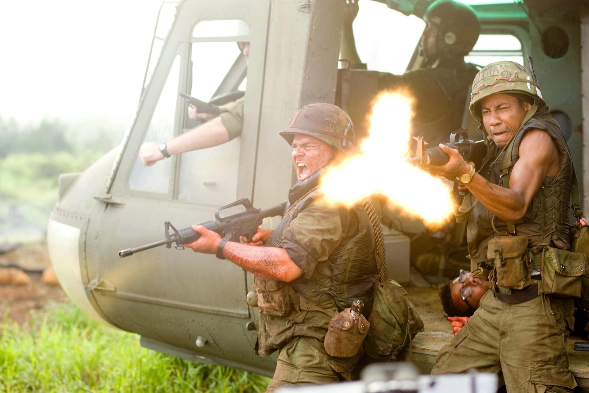 Jack Black and Brandon T. Jackson in Tropic Thunder (2008)