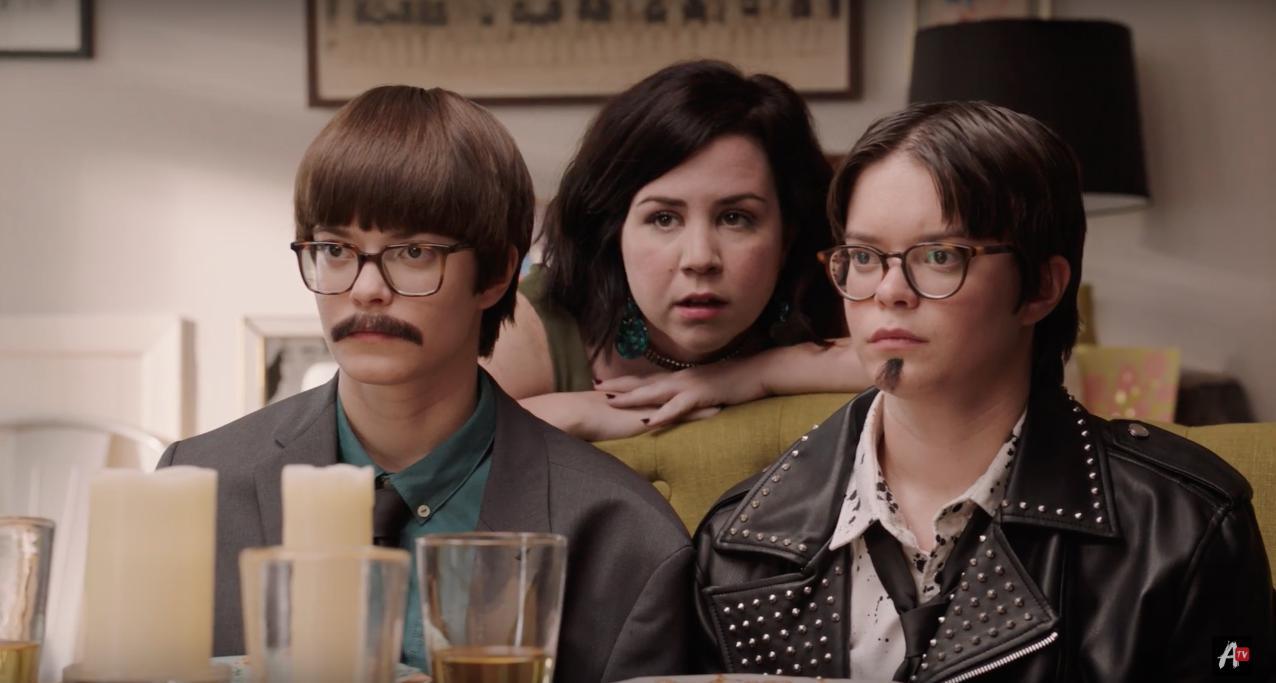 Emily Hinkler, Tenea Intriago, and Elizabeth Hinkler in Overthinking With Kat & June