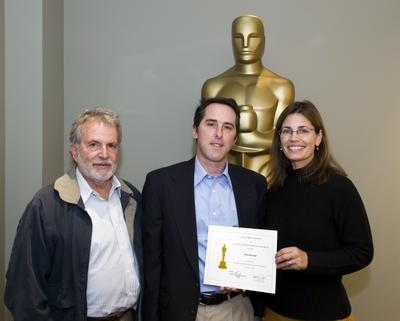 """The Academy of Motion Picture Arts and Sciences' Nicholl Fellowships in Screenwriting - receiving Finalist certificate at a luncheon at the Academy hosted by the Nicholl Committee. Pictured is Michael Raymond (center), writer of """"Abilene,"""""""