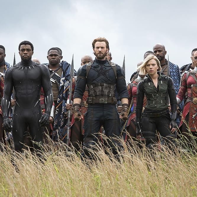 Chris Evans, Scarlett Johansson, Chadwick Boseman, Sebastian Stan, Danai Gurira, Marie Mouroum, and Winston Duke in Avengers: Infinity War (2018)