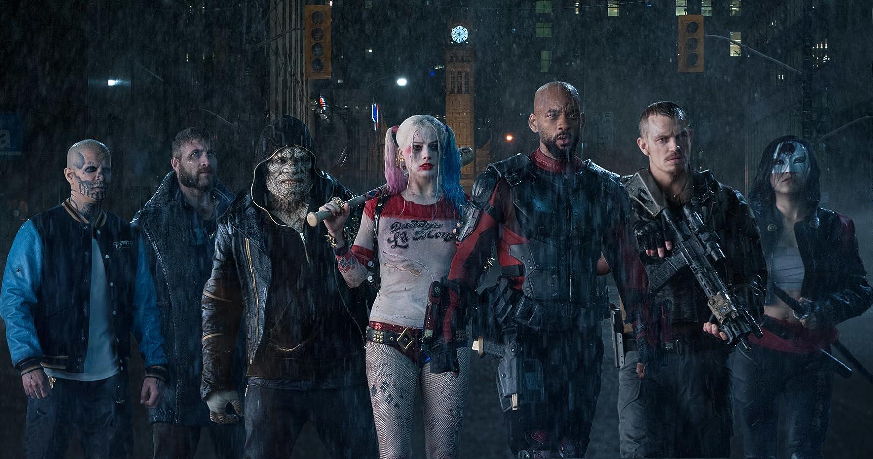 Will Smith, Adewale Akinnuoye-Agbaje, Jay Hernandez, Joel Kinnaman, Jai Courtney, Margot Robbie, and Karen Fukuhara in Suicide Squad (2016)