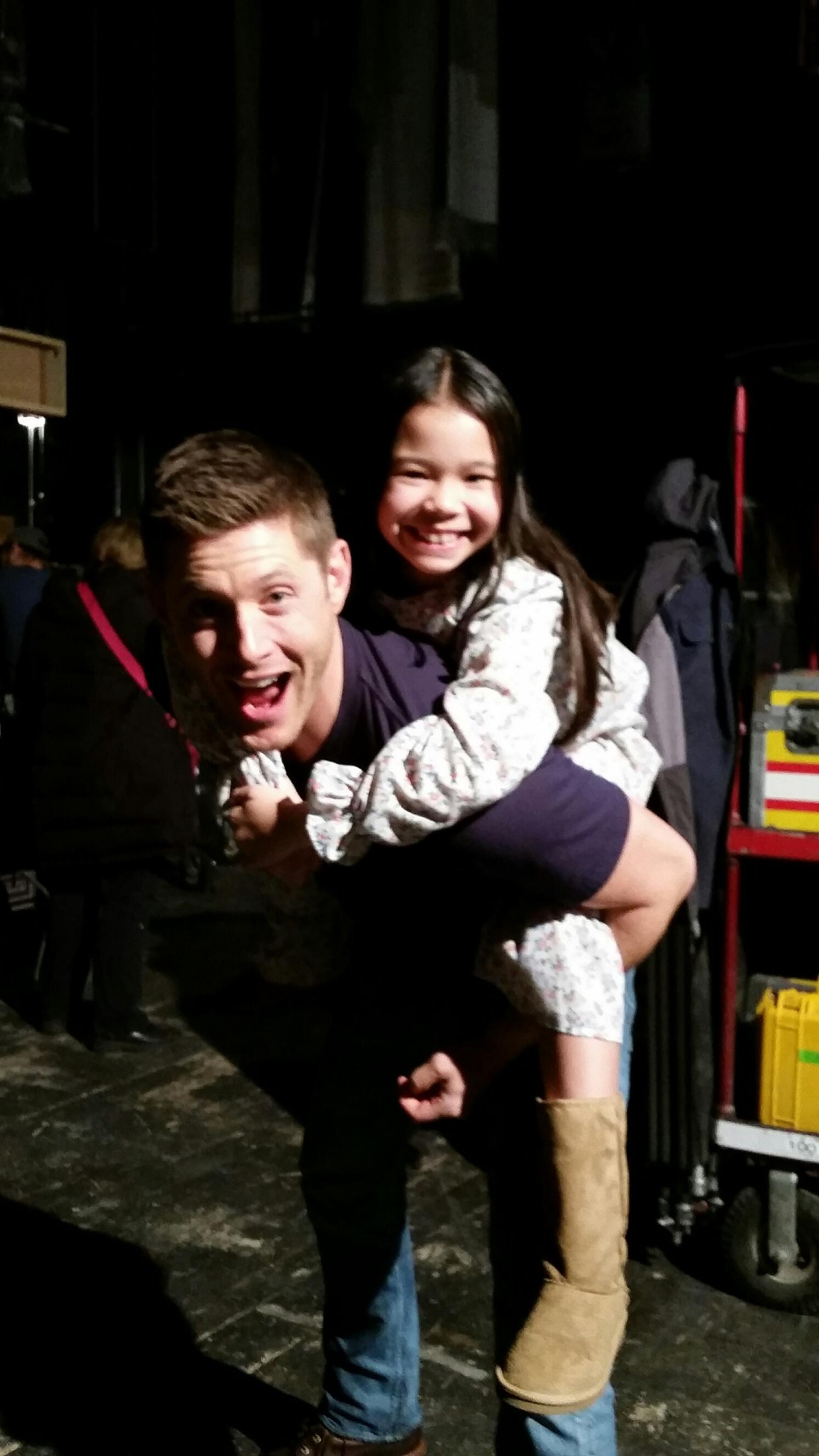 Emily having fun being on set with Jensen Ackles of Supernatural Episode Safe House Season 11