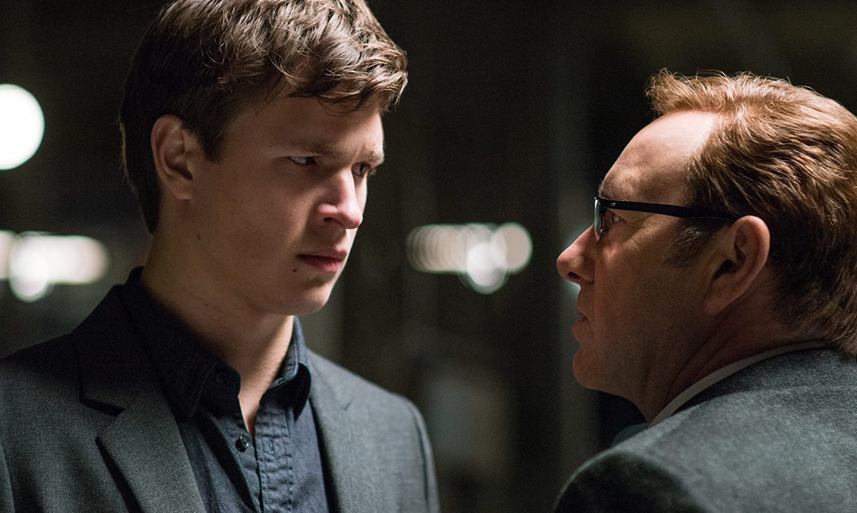 Kevin Spacey and Ansel Elgort in Baby Driver (2017)