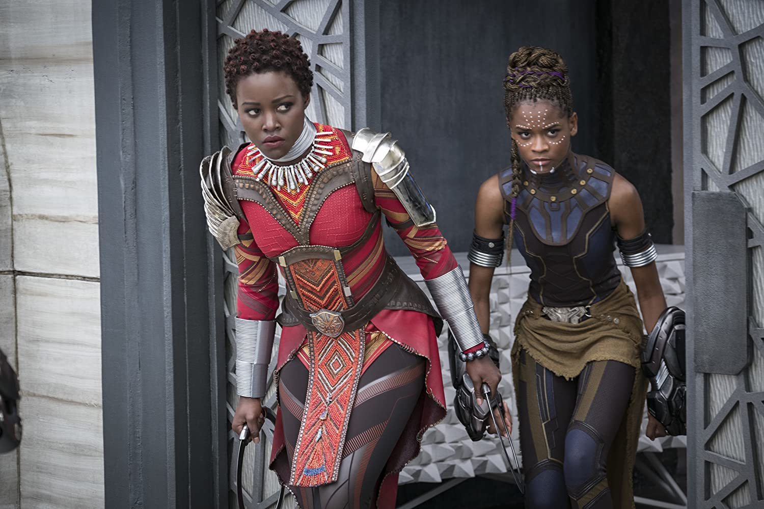 Lupita Nyong'o and Letitia Wright in Black Panther (2018)