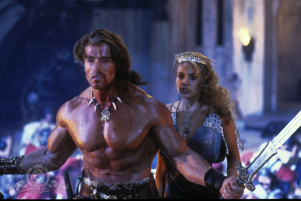 Arnold Schwarzenegger and Olivia dAbo in Conan the Destroyer 1984