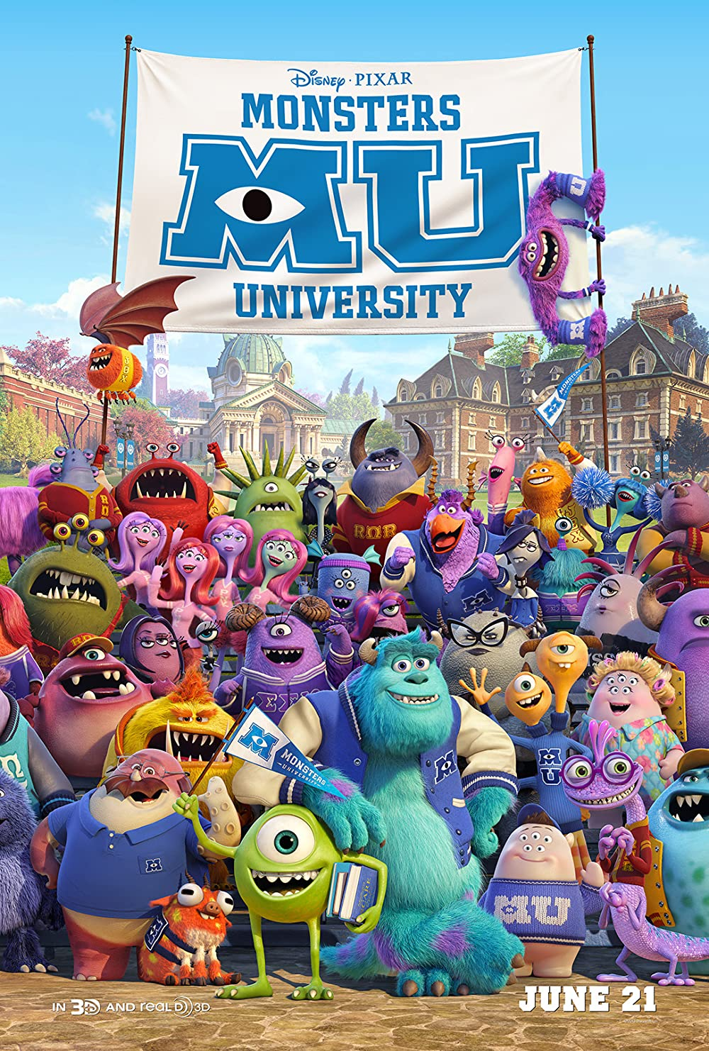 Monsters University 2013 3D English Full Movie 720p BluRay 690MB Download