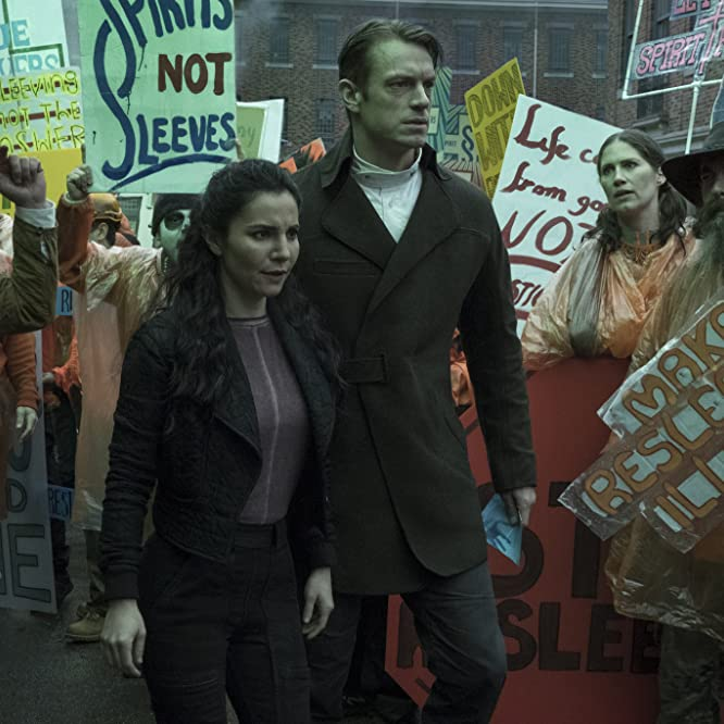 Martha Higareda and Joel Kinnaman in Altered Carbon (2018)