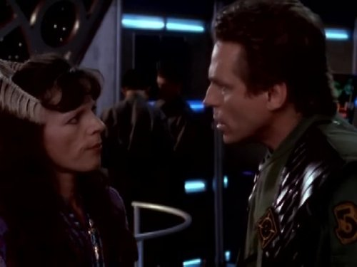 Jeff Conaway and Mira Furlan in Babylon 5 (1993)