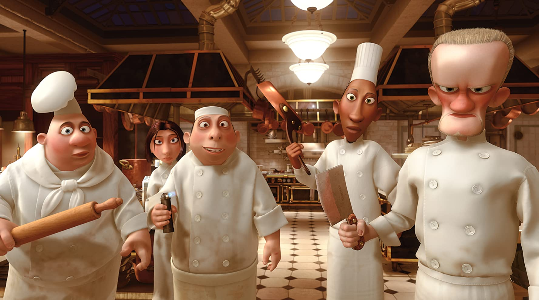 Janeane Garofalo, James Remar, Will Arnett, Tony Fucile, and Julius Callahan in Ratatouille (2007)