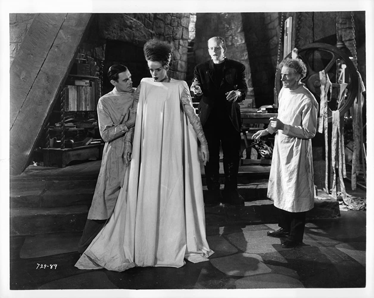 Boris Karloff, Elsa Lanchester, Colin Clive, and Ernest Thesiger in Bride of Frankenstein (1935)