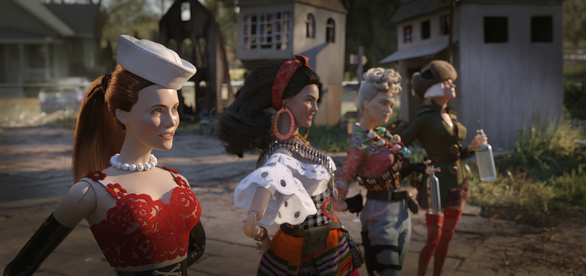 Leslie Mann, Merritt Wever, Eiza González, and Gwendoline Christie in Welcome to Marwen (2018)