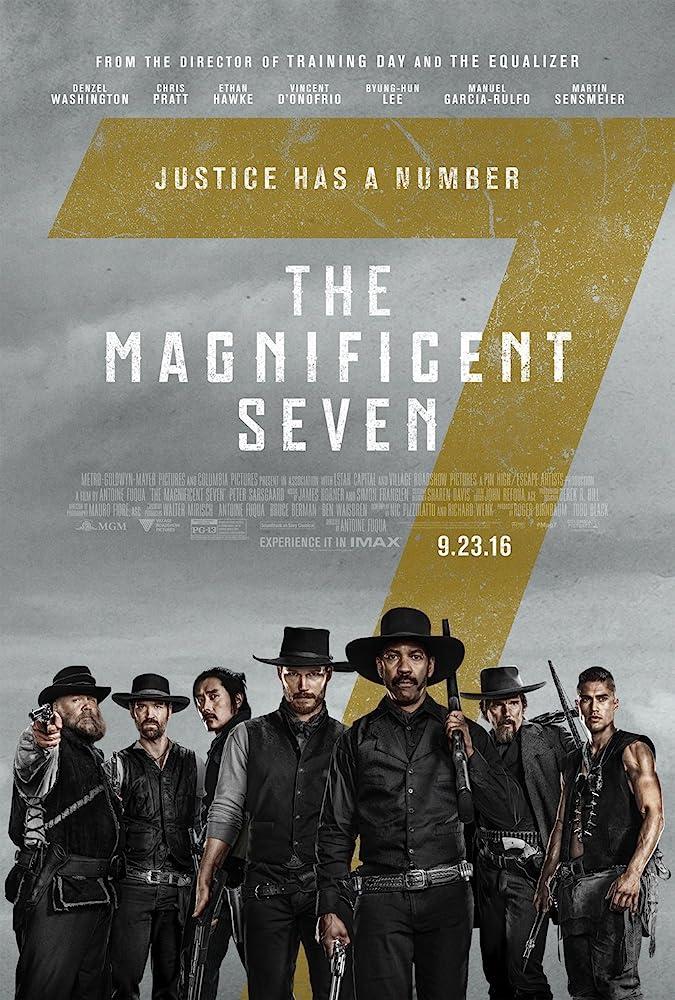 Ethan Hawke, Denzel Washington, Vincent D'Onofrio, Byung-hun Lee, Chris Pratt, Manuel Garcia-Rulfo, and Martin Sensmeier in The Magnificent Seven (2016)