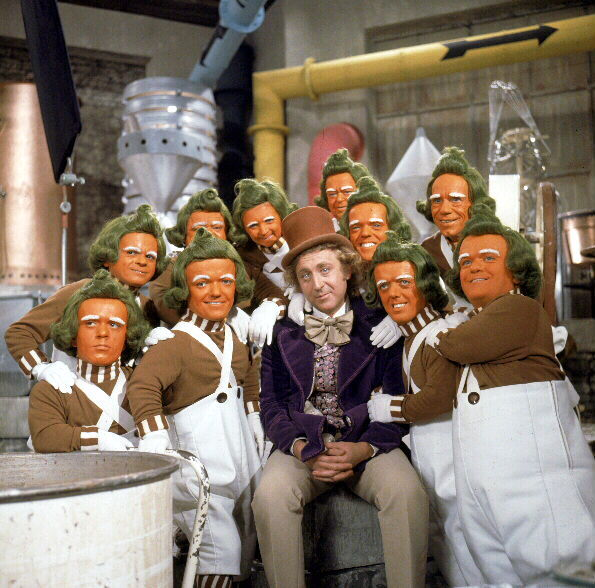Gene Wilder, Rudy Borgstaller, George Claydon, Malcolm Dixon, Rusty Goffe, Ismed Hassan, Norman McGlen, Angelo Muscat, Pepi Poupee, Marcus Powell, and Albert Wilkinson in Willy Wonka & the Chocolate Factory (1971)