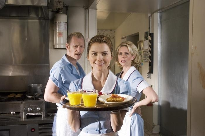 Keri Russell, Cheryl Hines, and Lew Temple in Waitress (2007)