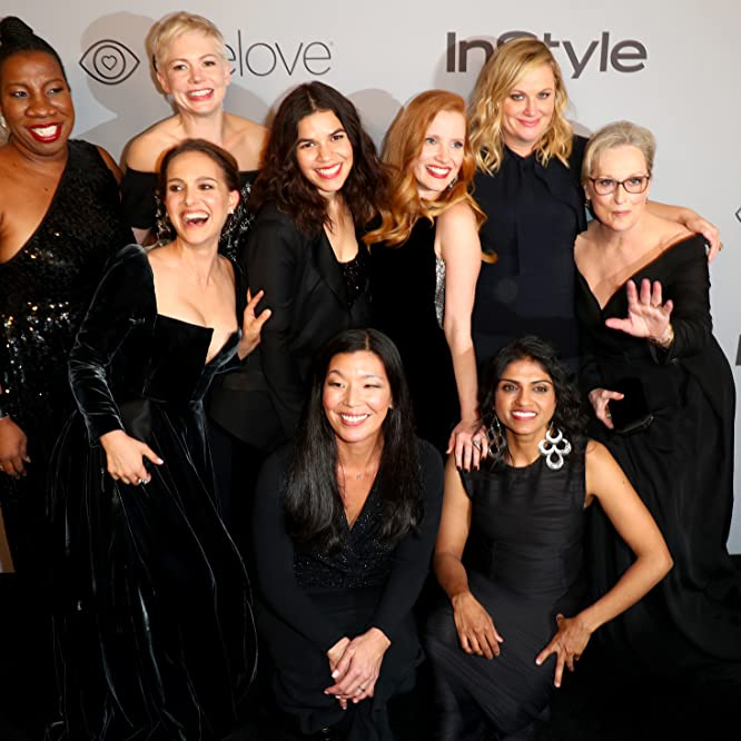 Natalie Portman, Meryl Streep, Amy Poehler, Michelle Williams, America Ferrera, Jessica Chastain, Saru Jayaraman, Rosa Clemente, and Ai-Jen Poo at an event for The 75th Golden Globe Awards (2018)