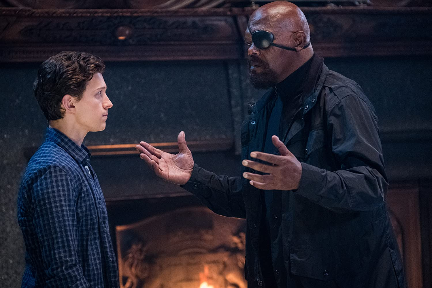 Samuel L. Jackson and Tom Holland in Spider-Man: Far from Home (2019)